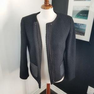 Talbots Petites boucle tweed faux leather jacket
